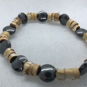 Hemp and black bead bracelet